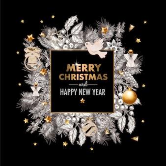 Weihnachtsbanner mit grafischen kiefern und holzdekorationen.