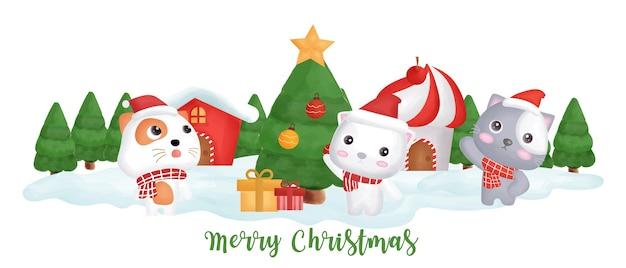 Weihnachtsbanner mit niedlichen katzen im schneedorf.