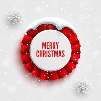 Weihnachtsbanner mit roter schleife schneekappe und schneeflocken runde abzeichen vektor-illustration