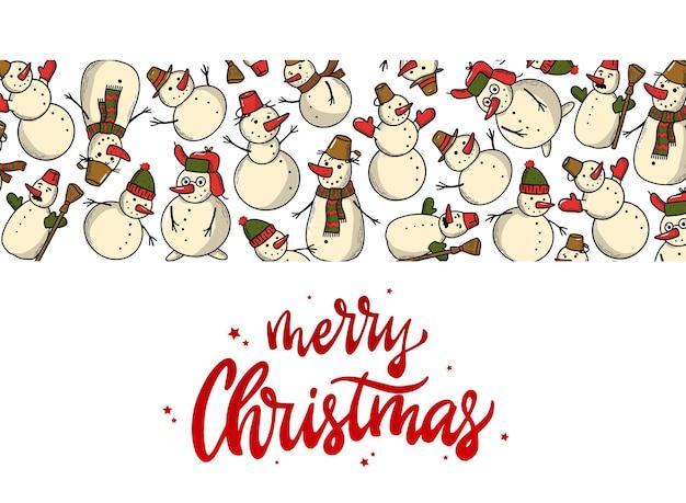 Weihnachtsbanner mit schneemännerrand Premium Vektoren