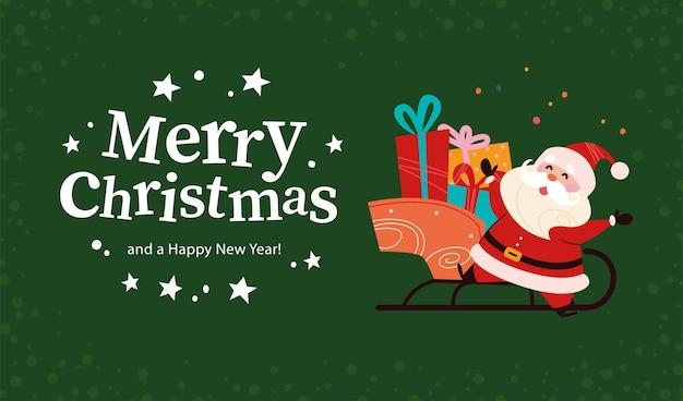 Weihnachtsbanner mit süßem, glücklichem weihnachtsmann-charakter, schlitten voller geschenke, text frohe weihnachten-gruß auf grünem schneebedeckten hintergrund. flache vektorgrafik. für karte, paket, web, einladung.