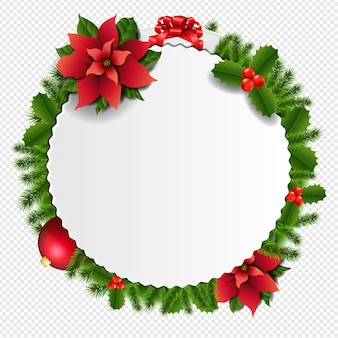 Weihnachtsbanner mit tannenbaum lokalisiert auf transparent