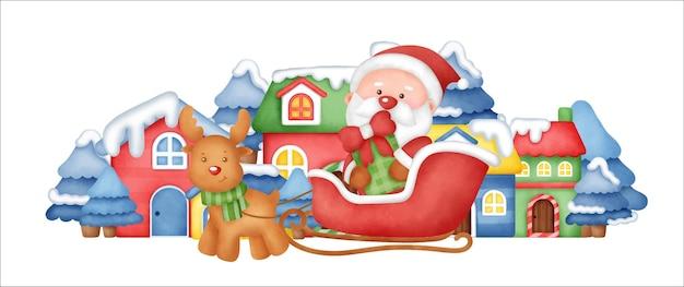Weihnachtsbanner mit weihnachtsmann und freunden im schneedorf.