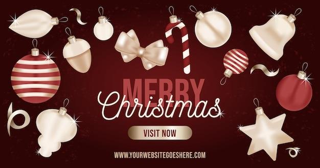 Weihnachtsbanner realistische goldverzierungen