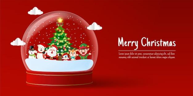 Weihnachtsbanner von santa claus und freund in der schneekugel
