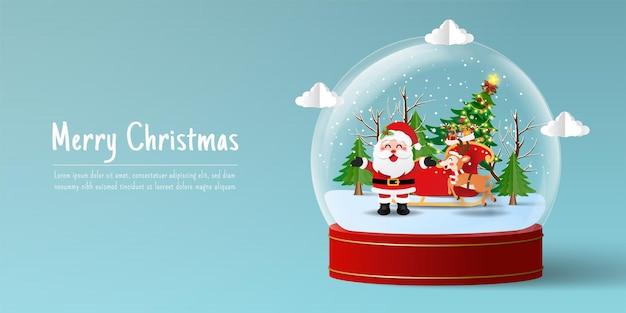 Weihnachtsbanner von santa claus und rentieren in der schneekugel