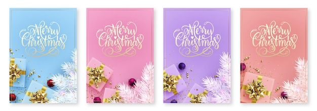 Weihnachtsbanner-vorlagenset von vektorillustrationen des neuen jahres mit geschenkpostkarten mit hintergrund