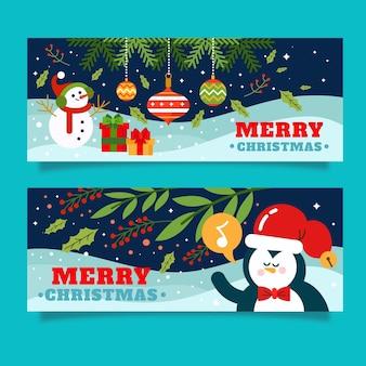 Weihnachtsbannerset illustriert