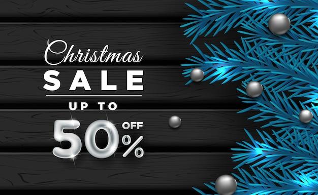 Weihnachtsbannerverkauf mit dekorativen elementen c