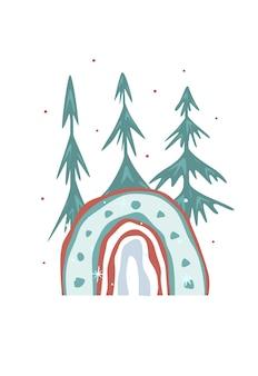 Weihnachtsbaum abstrakte karte. vorlage für das neue jahr. winter-schneeflocken, gefrorene bäume, geschenke und ein regenbogen auf weißem hintergrund. vektor-illustration