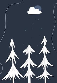 Weihnachtsbaum abstrakte karte. vorlage für das neue jahr. winterschneeflocken, gefrorene bäume, geschenke und ein regenbogen auf einem nachthintergrund. vektor-illustration