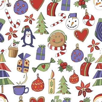 Weihnachtsbaum auf einem isolierten weißen hintergrund weihnachtselement in der hand zeichnen stil baumsymbol