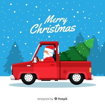 Weihnachtsbaum auf einem kleintransporter