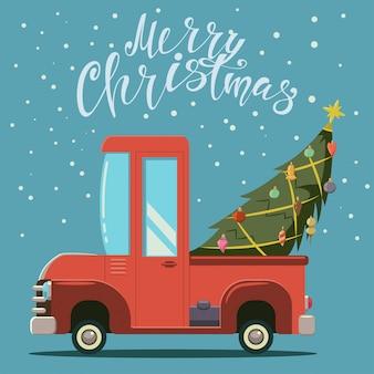 Weihnachtsbaum auf einem roten auto im schnee. vector karikaturillustration mit lkw- und handzeichnungstext. vintage grußkarte design.