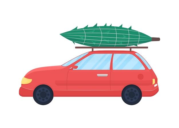 Weihnachtsbaum auf flachem farbobjekt des autos. festlicher kauf. neujahr feierlichkeiten. winterferienvorbereitung isolierte karikaturillustration für webgrafikdesign und -animation
