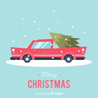 Weihnachtsbaum auf kleintransporter