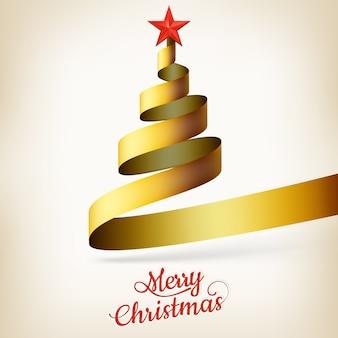 Weihnachtsbaum aus goldband und stern.