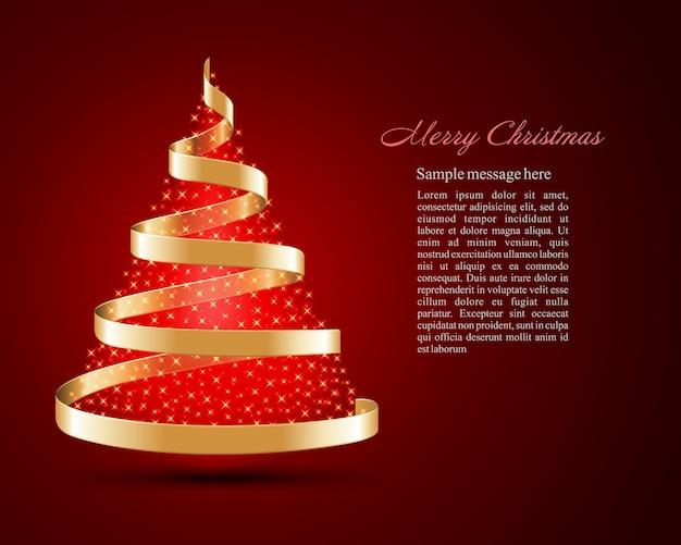 Weihnachtsbaum aus goldenem band mit hellen leuchtenden magischen lichtern und illustration.