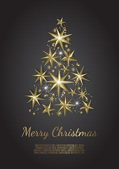 Weihnachtsbaum aus goldfolie sterne auf schwarzem hintergrund, weihnachtsgrußkarte,
