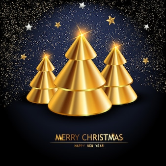 Weihnachtsbaum aus realistischem gold