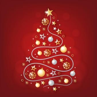 Weihnachtsbaum aus realistischer goldener dekoration