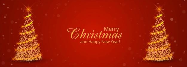 Weihnachtsbaum-banner-vorlage mit ornamenten