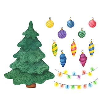Weihnachtsbaum, bunte girlande und spielzeug.