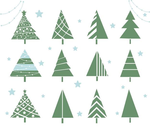 Weihnachtsbaum eingestellt. stilisierte verzierte neujahrsbäume.