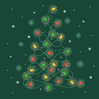 Weihnachtsbaum gemacht von der glühlampetapete