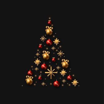 Weihnachtsbaum gemacht von der realistischen goldenen dekoration