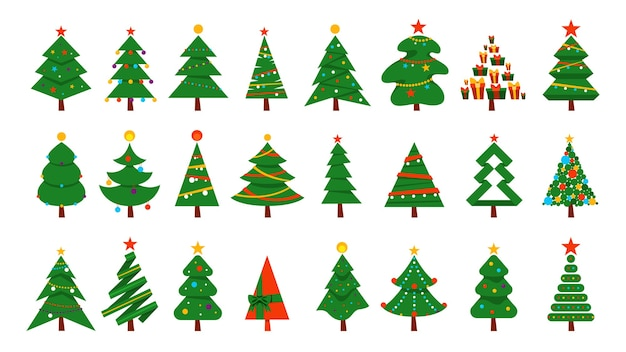 Weihnachtsbaum gesetzt. sammlung der grünen tanne für weihnachten und neujahrsfeier. illustration