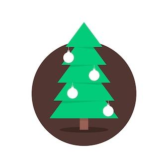 Weihnachtsbaum im kreis mit weihnachtskugeln. konzept der weihnachtsbaumsilhouette, fichte, familienfeier, krippe. isoliert auf weißem hintergrund. flacher stil trend moderne logo-design-vektor-illustration