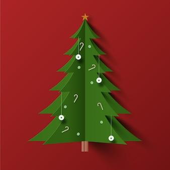 Weihnachtsbaum im papierstil