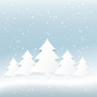 Weihnachtsbaum im verschneiten hintergrund