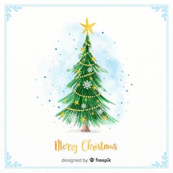 Weihnachtsbaum in Aquarell-Stil