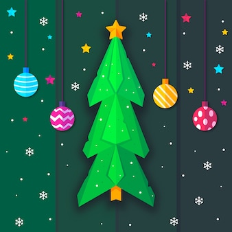 Weihnachtsbaum in der papierart und in hängenden weihnachtsbällen