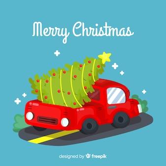 Weihnachtsbaum lieferwagen hintergrund