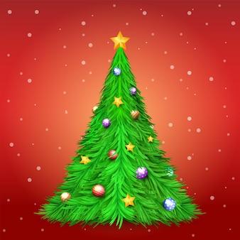 Weihnachtsbaum mit dekorationsball und stern auf rotem hintergrund mit schnee hintergrund der frohen weihnachten
