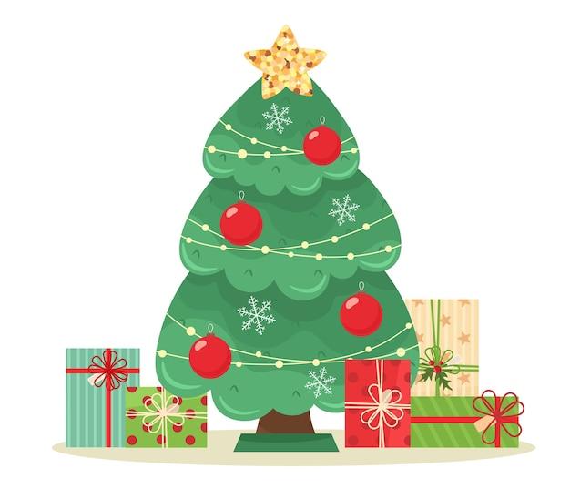 Weihnachtsbaum mit einem stern, geschmückt mit weihnachtskugeln, unter denen sich geschenke befinden