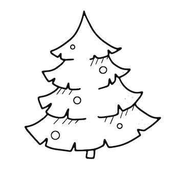 Weihnachtsbaum mit festlichen kugeln im doodle-stil geschmückt