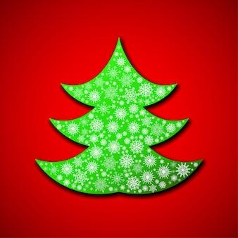 Weihnachtsbaum mit gelegentlichen schneeflocken