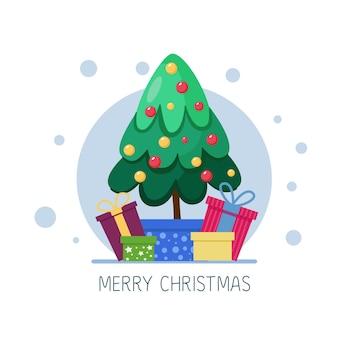 Weihnachtsbaum mit geschenkboxen frohe weihnachten und neujahrskarte