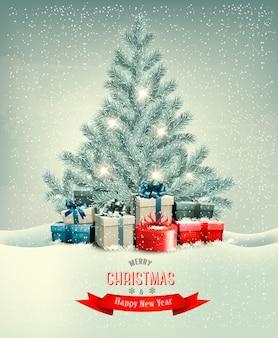 Weihnachtsbaum mit geschenken hintergrund.