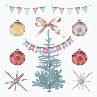 Weihnachtsbaum mit girlande und kugeln