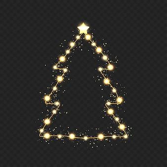 Weihnachtsbaum mit goldenen lichtern auf transparentem hintergrund. vektor