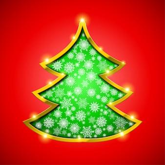 Weihnachtsbaum mit goldener grenze, schneeflocken und scheinen