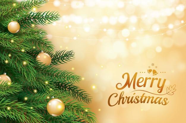 Weihnachtsbaum mit goldunschärfe bokeh beleuchtet hintergrund