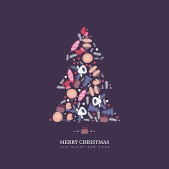 Weihnachtsbaum mit handgezeichneten winterelementen der gekritzelart. dunkler hintergrund mit grußtext, vektorillustration.