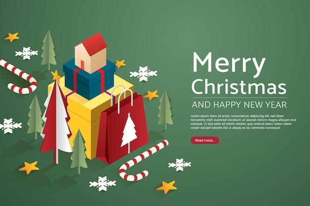 Weihnachtsbaum mit haus auf set geschenkboxen groß und papiertüte
