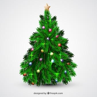 Weihnachtsbaum mit kugeln und lichtern